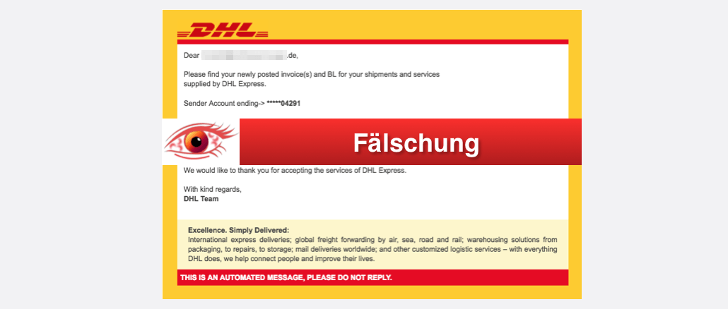 2017-10-19 DHL Spam Mail Parcel Delivery Notificiation
