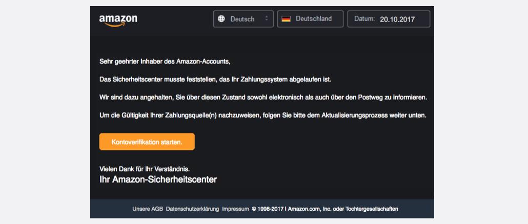 2017-10-22 Amazon Phishing Aktuallisierung ihrer Daten!