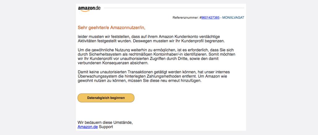 2017-10-22 Amazon Spam Fremdzugriff auf ihr Amazon.de Kundenkonto festgestellt