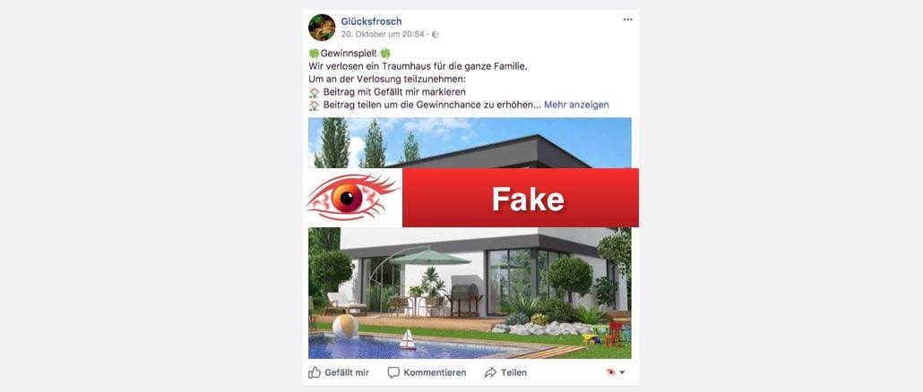 2017-10-22 Facebook Fake Seiten Gewinnspiel Traumhaus