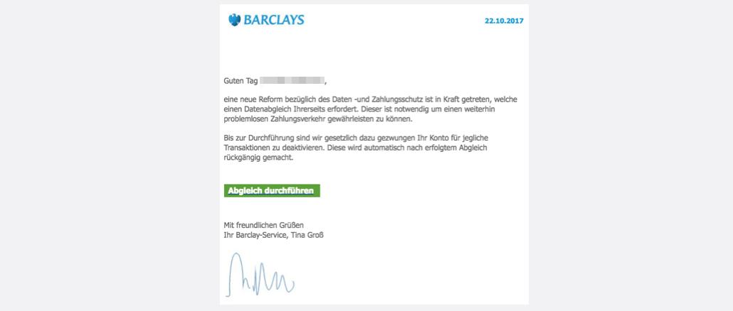 2017-10-23 Barclaycard Spam Online-Service: Deaktivierung Ihres Kontos