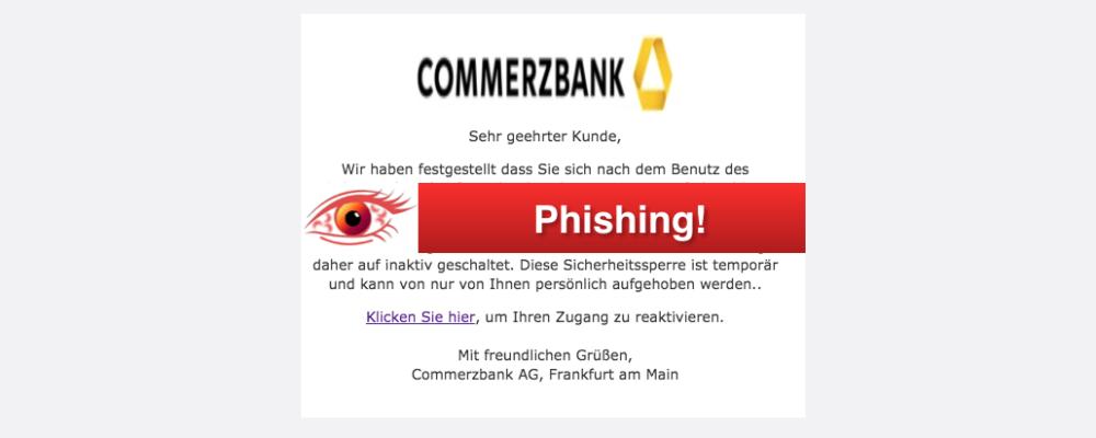"""Vorsicht Phishing: Commerzbank E-Mail """"Online Banking Pflicht-Aktualisierung"""" (Update)"""