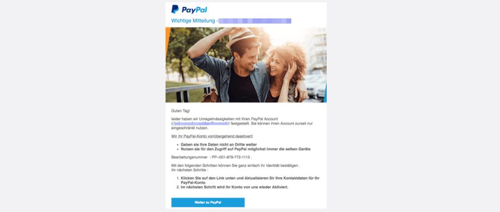 2017-10-23 PayPal Spam Ihr PayPal-Konto wurde deaktiviert