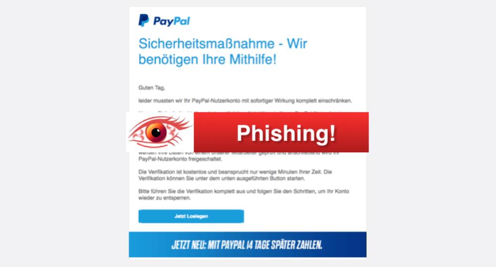 PayPal Phishing: Übersicht gefälschter E-Mails (Update)