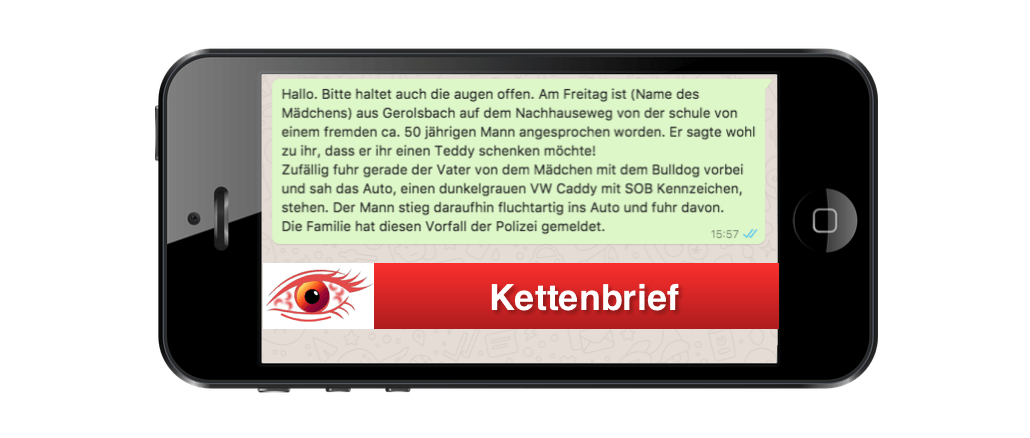 2017-10-25 WhatsApp Spam Kettenbrief Mann Auto Teddy