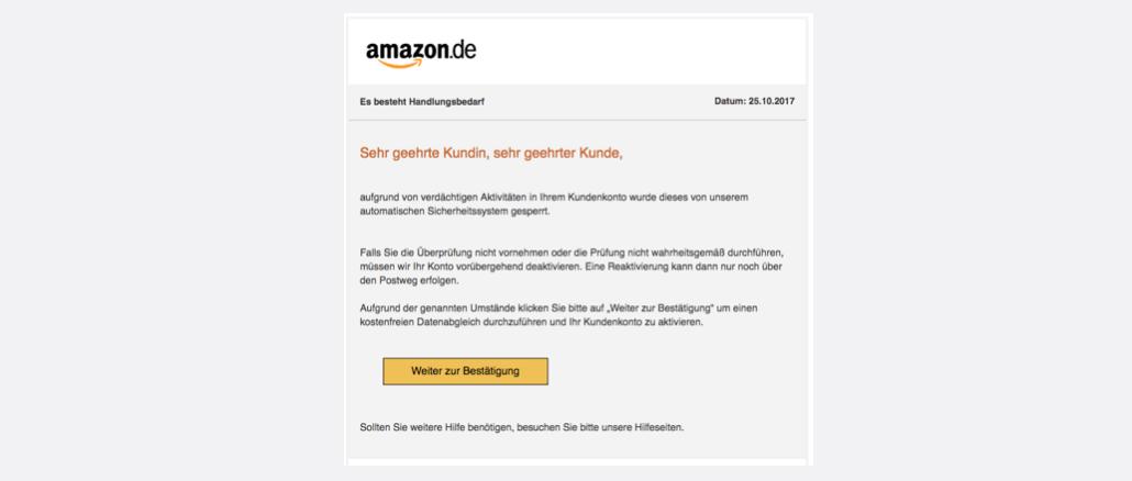 2017-10-27 Amazon Spam Phishing Neue Mitteilung