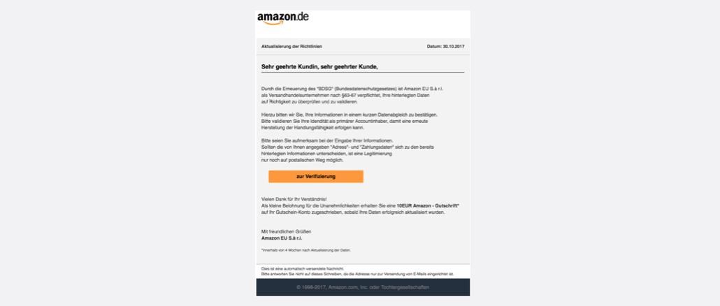2017-10-30 Amazon Spam Aktualisierung der Richtlinien 10 EUR Gutschein
