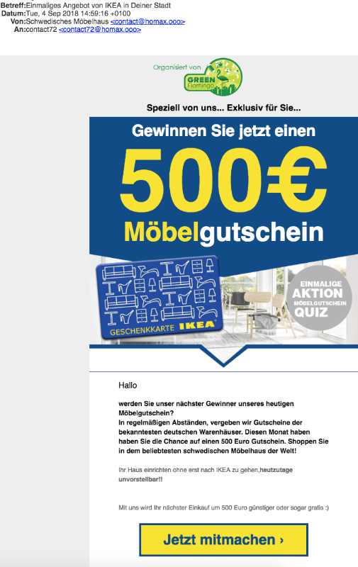 2018-09-06 Spam Mail IKEA Möbelgutschein 500 Euro