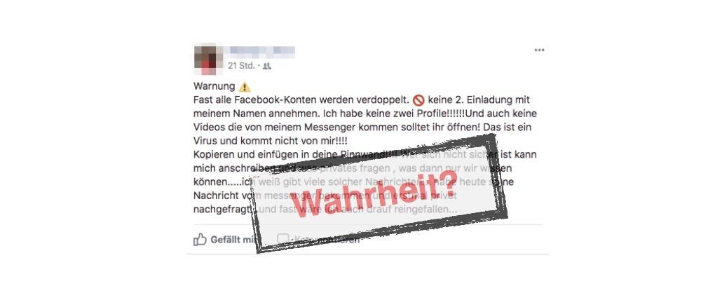 Facebook Beitrag Profil verdoppelt