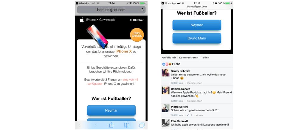 Gewinnspiel iPhoneX Kettenbrief red lemon media