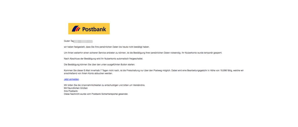 2017-11-27 Postbank Phishing