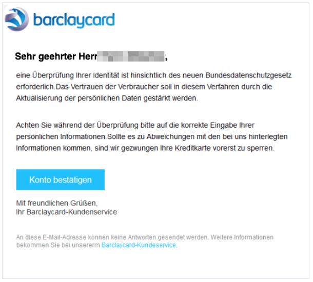 2018-01-02 Barclaycard Spam Phishing Nachricht von Ihrem Online-Kundenservice