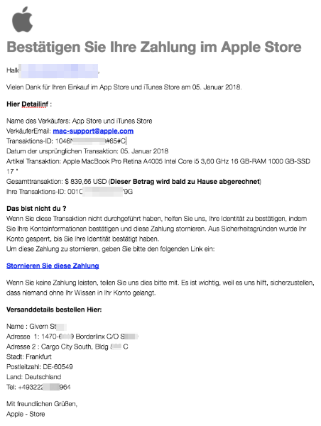 2018-01-05 Apple Store Spam Zahlung