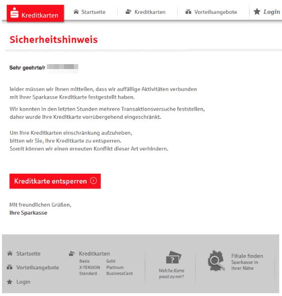 2018-01-18 Sparkasse Spam-Mail Kreditkarte entsperren