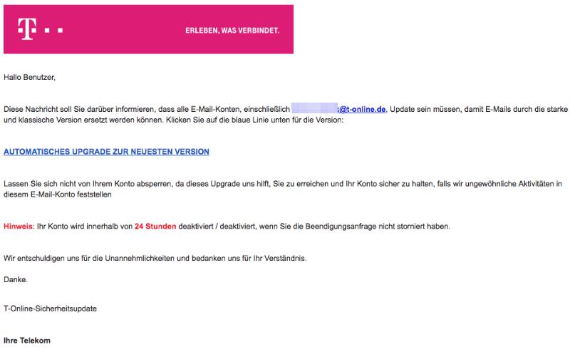 2018-02-08 Telekom Spam Mail Phishing E-Mail-Adresse gesperrt