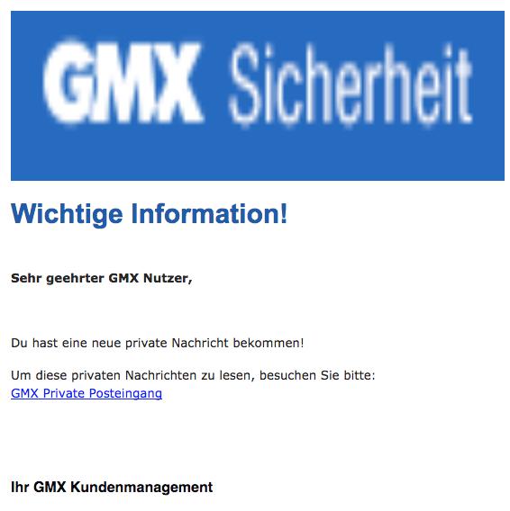 2018-02-12 GMX Spam aktuell Wichtig Private Nachrichten