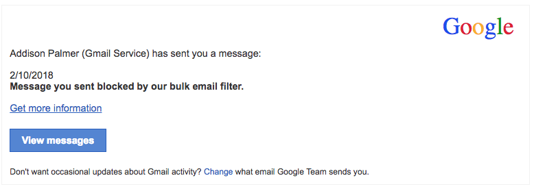 2018-02-12 Google Spam Fake-Mail Message you sent blocked by our bulk filter