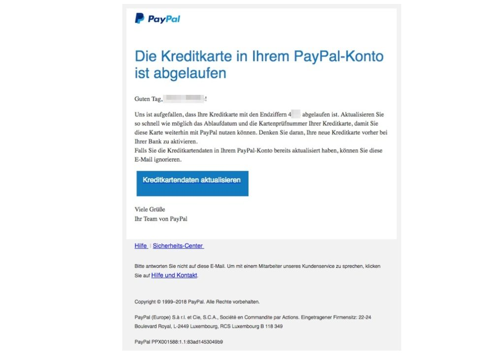 PayPal Kreditkarte abgelaufen
