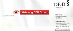 Betrug Mahnung DED Group Berlin