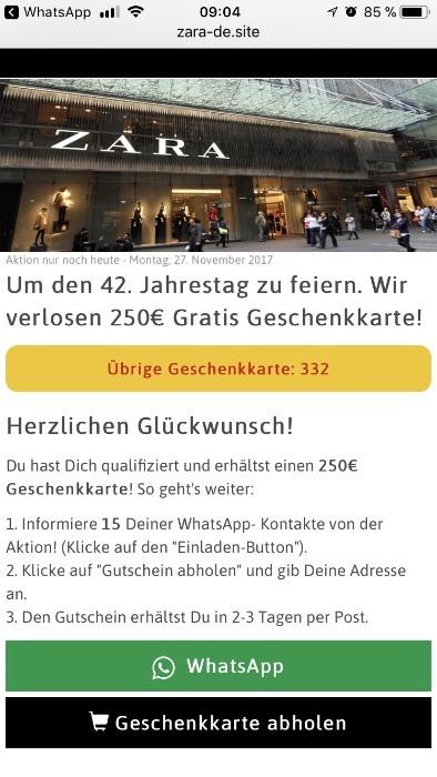 Kettenbrief Zara Gutschein WhatsApp