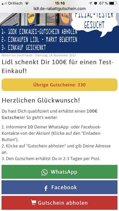Lidl 250 Euro Gutschein Kettenbrief 3