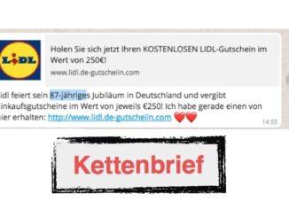 Lidl 250 Euro Gutschein Kettenbrief