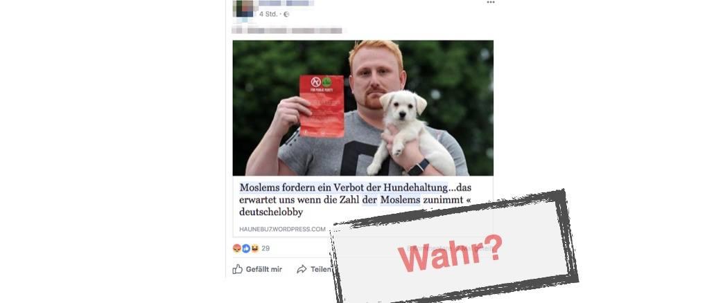 Moslems verbieten Hunde - Facebookpost