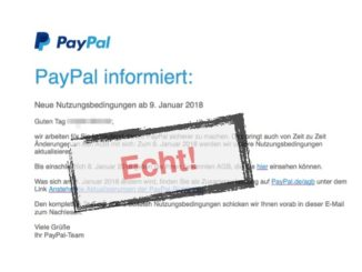 PayPal Änderung AGB
