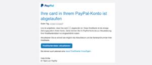 PayPal Mail Aktualisieren Sie Ihre abgelaufene Kreditkarte bei PayPal