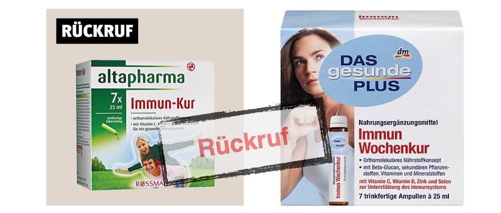 Rückruf Immunkuren dm und Rossmann