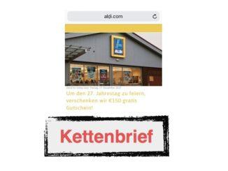 WhatsApp Kettenbrief Aldi 150 Euro Gutschein