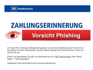 1und1 Spam-Mail Phishing Zahlungserinnerung