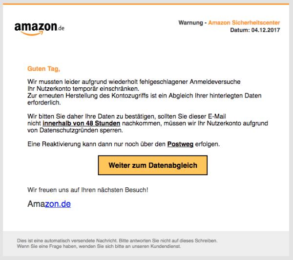 2017-12-04 Amazon Spam Verdächtige Anmeldeaktivitäten festgestellt