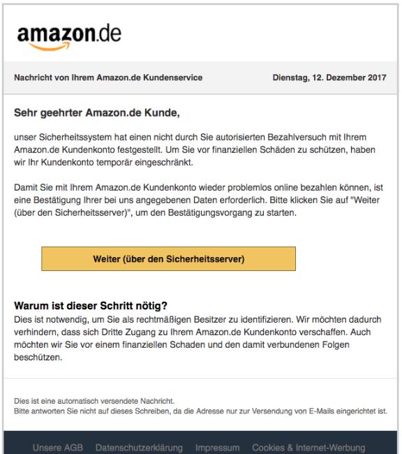 Amazon Ihr Konto Wurde Aus Sicherheitsgründen Gesperrt