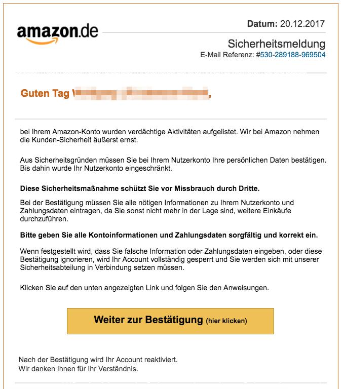 2017-12-21 Amazon Spam aktuell Bestätigen Sie Ihre Daten