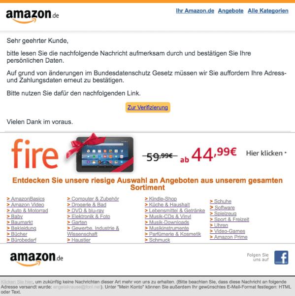 2018-01-02 Amazon Spam Verifikation Ihres Kundenkontos notwendig