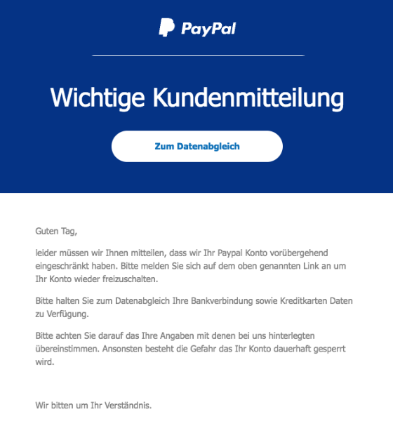 2018-01-10 PayPal Spam Wichtige Kundenmitteilung