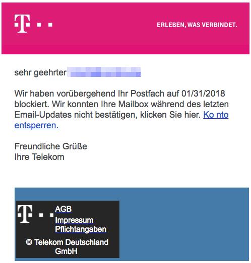 2018-01-31 Telekom Spam Konto wurde gesperrt
