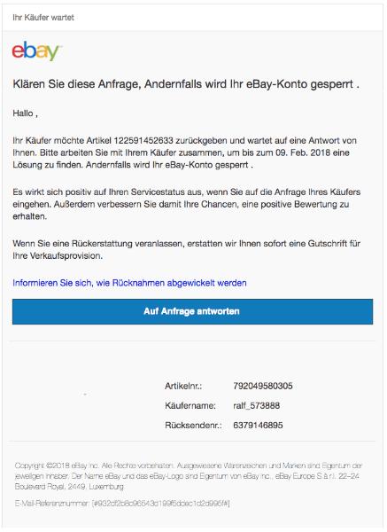 2018-02-12 ebay Spam Phishing Mail Antworten Sie auf die offene Anfrage