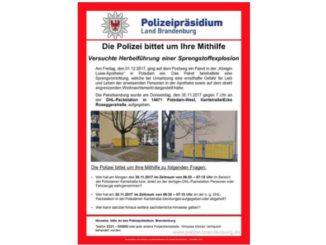 Fahndungsaufruf Polizei Brandenburg