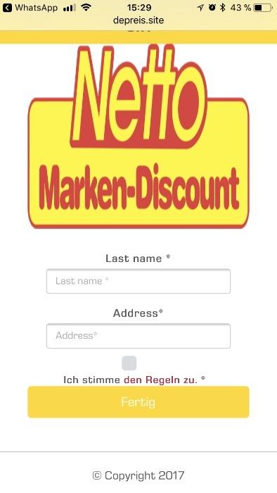 Kettenbrief WhatsApp Netto Gutschein 250 Euro