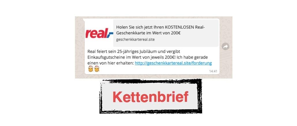 Kettenbrief WhatsApp real,- Gutschein