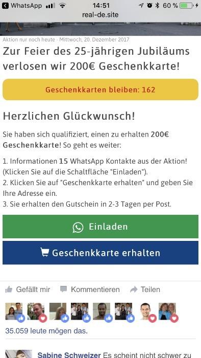 200 euro real gutschein per whatsapp kettenbrief was ist dran. Black Bedroom Furniture Sets. Home Design Ideas