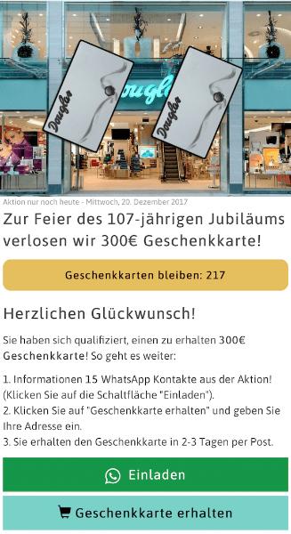 WhatsApp Kettenbrief Einkaufsgutschein 300 Euro teilen