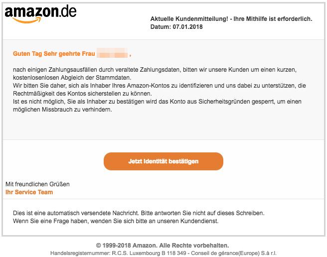 2018-01-08 Amazon Spam Amazon - Kunden Mitteilung