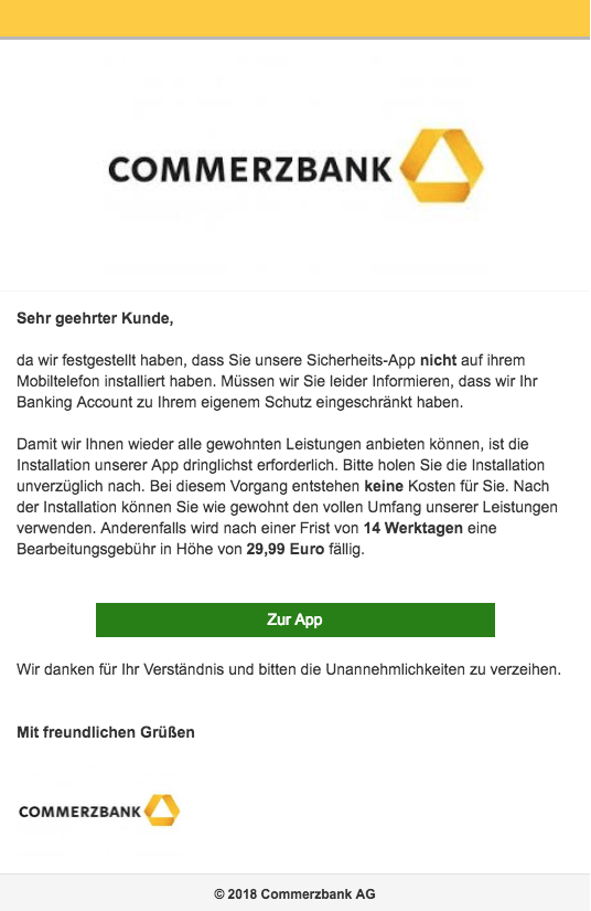 2018-01-11 Commerzbank Spam Mail Wichtige Kundeninformation
