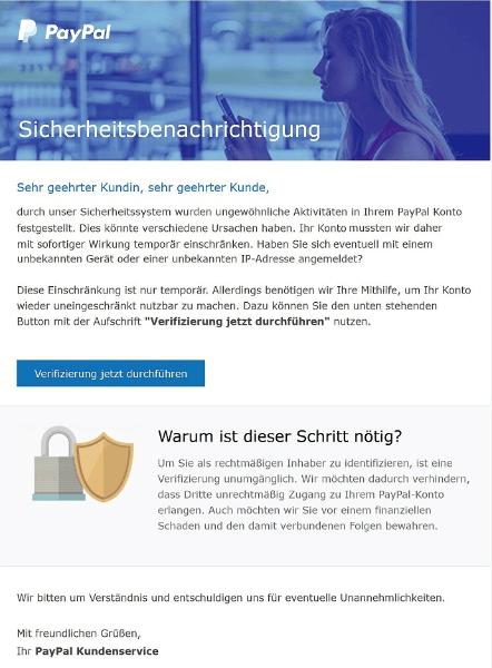 2018-01-15 PayPal Spam Sicherheitsbenachrichtigung Es besteht Handlungsbedarf