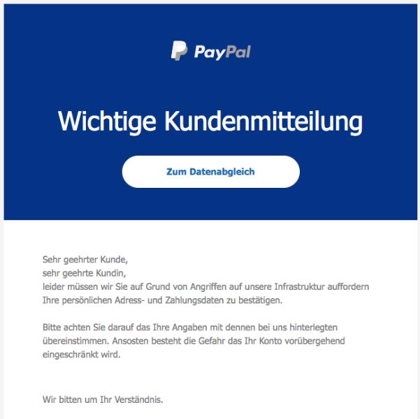 2018-01-18 PayPal Spam aktuell Bitte verifizieren Sie Ihr Paypal Konto