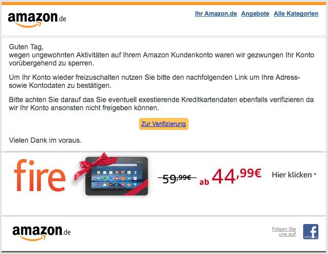 2018-01-23 Amazon Spam Ihr Amazon Konto wurde gesperrt