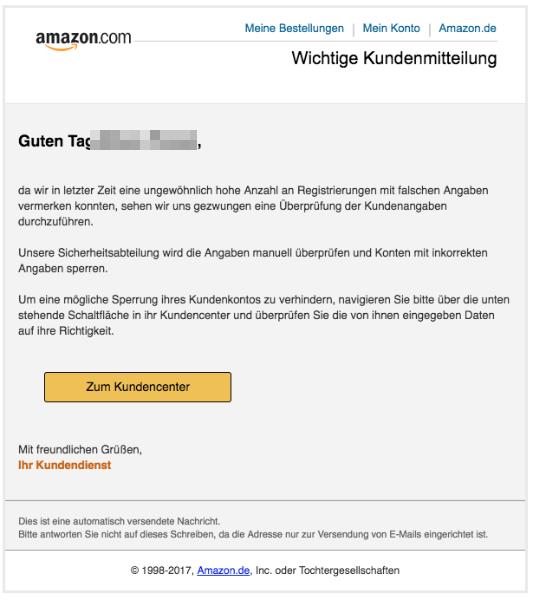 2018-01-25 Amazon Phishing Spam Wichtige Kundenmitteilung
